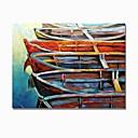 olcso Absztrakt festmények-styledecor® modern kézzel festett absztrakt színes hajó sorozat három olajfestmény a fal művészet csomagolt vászonra