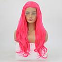 baratos Kit DVR-Perucas Lace Front Sintéticas Ondulado Rosa Corte em Camadas Cabelo Sintético Resistente ao Calor Rosa Peruca Mulheres Longo Frente de Malha Rosa + Vermelho / Sim