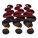 tanie Dopinki farbowane-3 zestawy Włosy brazylijskie Prosta 8A Włosy naturalne Ombre 10-26 in Wielokolorowy Ludzkie włosy wyplata Tkany maszynowo Impreza Damskie Natutalne Ludzkich włosów rozszerzeniach Damskie