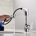 cheap Bath Towel-Bathroom Sink Faucet - Pullout Spray / New Design / Rotatable Chrome Deck Mounted Single Handle One Hole