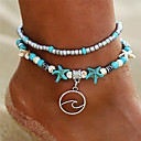 cheap Sexy Uniforms-Women's Turquoise Layered Anklet Flower Starfish Wave Ladies Vintage Bohemian Tropical Fashion Anklet Jewelry Turquoise For Holiday Bikini