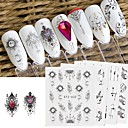 cheap Nail Stickers-24 pcs Full Nail Stickers nail art Manicure Pedicure Lace Nail Decals Daily Wear / Festival