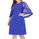 cheap Wedding Wraps-Women's Lace Plus Size Daily / Weekend Basic / Street chic Flare Sleeve Sheath Dress - Solid Colored Cut Out / Mesh Summer Red Khaki Royal Blue 4XL XXXXXL XXXXXXL