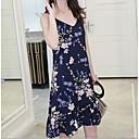 זול נורות לד תירס-צווארון V מעל הברך דפוס, פרחוני - שמלה מידות גדולות ליציאה בגדי ריקוד נשים / קיץ
