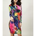 preiswerte Tischlampe-Damen Bodycon Kleid Regenbogen Übers Knie