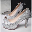 ieftine Mocasini de Damă-Pentru femei Pantofi Pânză Vară Confortabili Tocuri Toc Stilat Alb / Negru / Argintiu / Party & Seară