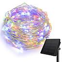 billige Flomlys-KWB 10 m Lysslynger 100 LED 1Sett monteringsbrakett Varm hvit / Hvit / Blå Solar / Kreativ / Vanntett Soldrevet 1set