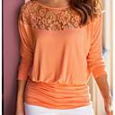 abordables Impresiones-Mujer Básico Encaje / Ahuecado / Retazos Camiseta Un Color