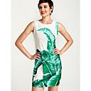 זול כלי הקשה-לבן עד הברך / מעל הברך פרחוני - שמלה צינור בסיסי בגדי ריקוד נשים