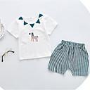 ieftine Set Îmbrăcăminte Bebeluși-Bebelus Unisex Șic Stradă Zilnic / Concediu Dungi Manșon scurt Regular Bumbac Set Îmbrăcăminte Trifoi 90 / Copil