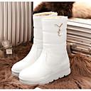 baratos Sapatos de Dança Latina-Mulheres Sapatos Couro Ecológico Inverno Conforto / Botas de Neve Botas Salto Baixo Botas Cano Médio Branco / Preto / Bege
