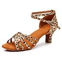 preiswerte Latein Schuhe-Damen Schuhe für den lateinamerikanischen Tanz Satin Absätze Kubanischer Absatz Maßfertigung Tanzschuhe Leopard