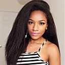 olcso Emberi hajból készült parókák-Remy haj Csipke eleje Paróka Perui haj Yaki Straight Paróka Réteges frizura 130% Természetes hajszálvonal / Fekete hölgyeknek Fekete Női Hosszú Emberi hajból készült parókák