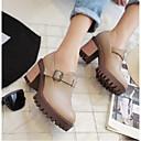 cheap Women's Oxfords-Women's Shoes PU(Polyurethane) Spring & Summer Comfort Oxfords Chunky Heel Round Toe Black / Gray / Almond
