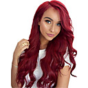cheap Synthetic Lace Wigs-Synthetic Wig / Synthetic Lace Front Wig Wavy Minaj Style Layered Haircut Lace Front Wig Burgundy Burgundy Synthetic Hair Women's with Baby Hair / Adjustable / Heat Resistant Burgundy Wig Long / Yes