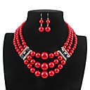 cheap Jewelry Sets-Women's Layered Jewelry Set - Imitation Pearl Stylish, Classic Include Drop Earrings / Necklace White / Red For Daily
