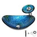 abordables Lavabos-Lavabo de Baño / Grifería de Baño / Anillo de Montura de Baño Moderno - Vidrio Templado Redondo