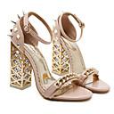 ieftine Tocuri de Damă-Pentru femei Pantofi PU Vară Confortabili / Balerini Basic Sandale Toc Îndesat Negru / Migdală