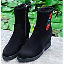 ieftine Sandale de Damă-Pentru femei Piele de Căprioară / Nappa Leather Toamna iarna Confortabili / Cizme la Modă Cizme Toc Drept Vârf Închis Cizme Medii Negru