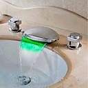 povoljno Slavine za umivaonik-Kupaonica Sudoper pipa - Waterfall / LED Chrome Slavine s tri otvora Dvije ručke tri rupeBath Taps / Brass