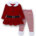 ieftine Set Îmbrăcăminte Bebeluși-Copii / Copil Fete Șic Stradă Crăciun / Școală / Gril pe Kamado Dungi Manșon Lung Regular Regular Bumbac / Poliester Set Îmbrăcăminte Roșu-aprins 100