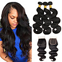 cheap Natural Color Hair Weaves-3 Bundles with Closure Brazilian Hair Wavy Human Hair One Pack Solution Human Hair Weaves Extention Natural Color Human Hair Extensions Women's