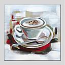 tanie Obrazy olejne-Hang-Malowane obraz olejny Ręcznie malowane - Martwa natura Nowoczesny Brezentowy / Rozciągnięte płótno