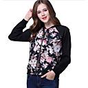 ieftine Îmbrăcăminte de Fitness, Alergat & Yoga-Pentru femei Sport Regular Jachetă, Print Floral Stand Manșon Lung Poliester Negru M / L / XL
