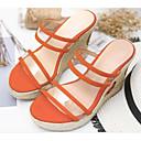 ieftine Tocuri de Damă-Pentru femei Pantofi Sintetice Vară Confortabili / Balerini Basic Sandale Toc Platformă Negru / Portocaliu