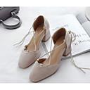 olcso Női magassarkú cipők-Női Cipő PU Tavasz Kényelmes Magassarkúak Vaskosabb sarok Fekete / Rózsaszín / Mandula