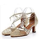זול נעליים מודרניות-בגדי ריקוד נשים נעליים מודרניות תחרה עקבים סלים גבוהה עקב נעלי ריקוד זהב / שחור / כסף