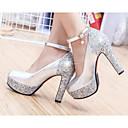 olcso Női magassarkú cipők-Női Cipő PU Nyár Kényelmes / Magasított talpú Magassarkúak Tűsarok Arany / Ezüst
