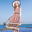 cheap Abstract Paintings-Women's Going out / Weekend Basic / Elegant Sheath Dress - Color Block / Rainbow V Neck Summer Silk Rainbow XL XXL XXXL