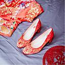 tanie Kozaki damskie-Damskie Satyna Jesień / Wiosna i lato Czółenka zwykłe Buty ślubne Masywny obcas Okrągły Toe Czerwony / Ślub