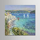 tanie Obrazy olejne-Hang-Malowane obraz olejny Ręcznie malowane - Krajobraz Nowoczesny Płótno / Zwijane płótno