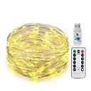 billige LED-lamper-KWB 10 m Lysslynger 100 LED SMD 0603 1 13Kjør fjernkontrollen Varm hvit / Hvit / Blå Nytt Design / USB / Dekorativ USB-ladet 1set