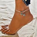 hesapli Ayak bileziği-Kadın's Ayak bileği bilezik ayak takı Çoklu Katman İstif Kıvrımlı Fil Güneş Ucuz Bayan Vintage Bohem Casual / Sportif Moda Ayak bileziği Mücevher Beyaz Uyumluluk Cadde Dışarı Çıkma