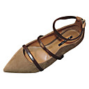cheap Party Headpieces-Women's Shoes PU(Polyurethane) Summer Ankle Strap Flats Flat Heel Pointed Toe Black / Brown