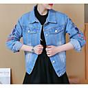 cheap Hair Care-Women's Daily Fall Regular Denim Jacket, Floral Print Turndown Long Sleeve Cotton / Polyester Embroidered Blue / Light Blue L / XL / XXL