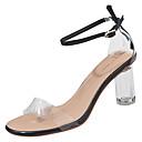 povoljno Ženske čizme-Žene Cipele PU Ljeto Prozirni obuće Sandale Blok pete Okrugli Toe Crn / Bež / Bijela