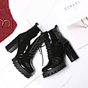 ieftine Sandale de Damă-Pentru femei Pantofi Nappa Leather Iarnă Confortabili Cizme Toc Îndesat Negru