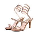 povoljno Ženske sandale-Žene Cipele Ovčja koža Ljeto Udobne cipele / Obične salonke Sandale Stiletto potpetica Crn / Badem
