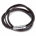 cheap Men's Bracelets-Men's Stylish Braided Wrap Bracelet Leather Bracelet Loom Bracelet - Leather, Steel Stainless Creative Stylish, European, Trendy Bracelet Jewelry Black / Coffee For Street Going out