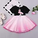 tanie Zestawy ubrań dla dziewczynek-Dzieci / Brzdąc Dla dziewczynek Podstawowy / Moda miejska Codzienny / Wyjściowe Flamingi Ptak Nadruk Krótki rękaw Do kolan / Nad kolano Bawełna Sukienka Czarny 100