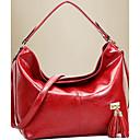 رخيصةأون حقائب الكتف-للمرأة أكياس PU حقيبة الكتف لون واحد أحمر / أصفر / بني