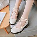 povoljno Ženske ravne cipele-Žene Ravne cipele Niska potpetica Zatvorena Toe Mekana koža Udobne cipele Ljeto Crn / Obala / Bijela