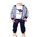 tanie Preschool Backpacks-Dzieci Dla chłopców Zabytkowe / Podstawowy Wyjściowe Kratka Długi rękaw Bawełna Komplet odzieży