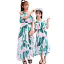 ieftine Set Îmbrăcăminte De Familie-Copii Mama și cu mine Activ Floral Imprimeu Manșon scurt Maxi Rochie