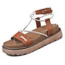 ieftine Sandale de Damă-Pentru femei PU Vară Confortabili Sandale Creepers Vârf rotund Alb / Maro