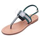 povoljno Ženske natikače i japanke-Žene PU Ljeto Udobne cipele Sandale Ravna potpetica Okrugli Toe Štras Crn / Zelen